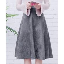 Neophil נשים זמש גבוהה מותן Midi חצאית 2020 חורף בציר סגנון אלסטי גבירותיי קו שחור ירוק התלקחות אופנה חצאית s29A4
