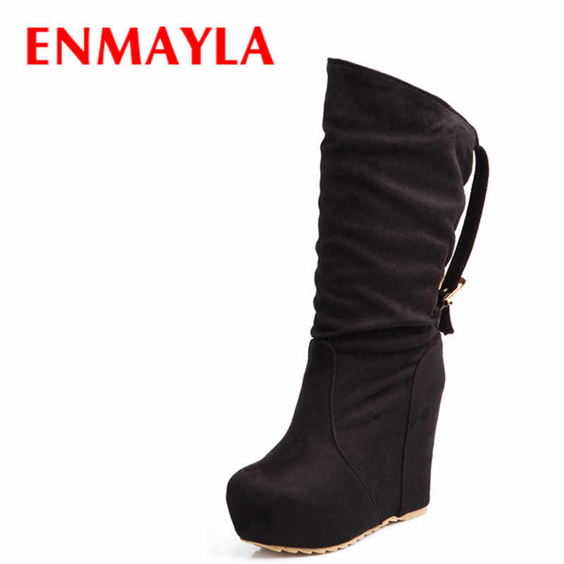 ENMAYLA New Autumn Winter Fashion Mid-Calf Women's Wedges Flock Women High Heels Boots Round Toe Martin Boots Black Red Blue