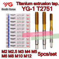 M2 M2.5 M3 M4 M5 M6 M8 M10 M12 5pcs/set T2751 YG 1 Made in Korea HSS EX Titanium extrusion tap Free shipping