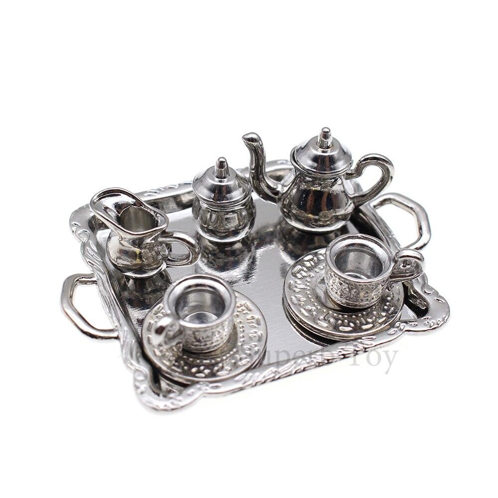Miniature 5-Piece Silver Tea Set with Tray DOLLHOUSE 1:12