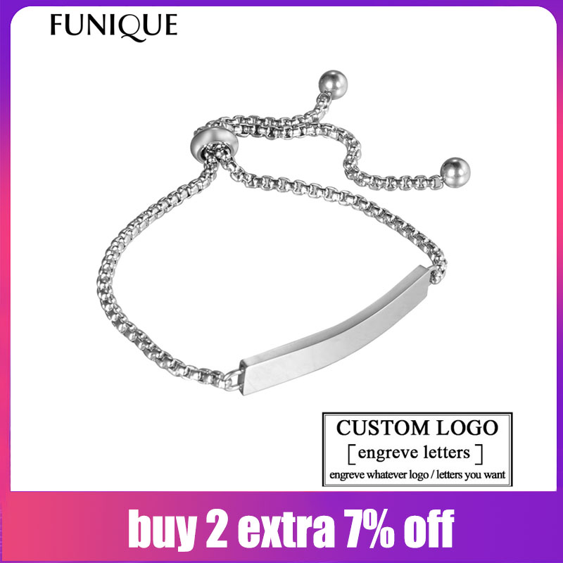 a8d943d0e3015 FUNIQUE Customize Engrave Bracelets for Women Stainless Steel Custome  Personalized ID Bracelet Logo Engrave Name Bangles Femme
