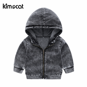 Image 3 - Kimocat New Arrival Autumn And Spring Long Sleeve Childrens Hooded Knit Denim Suit Boys Clothing Sets Toddler Tracksuit Sets