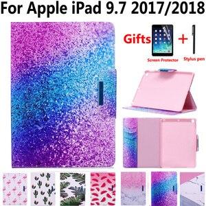 Чехол из искусственной кожи с мраморной росписью для нового Apple iPad 9,7 2017/2018 5-го/6-го поколения A1822 A1893 с защитной пленкой для экрана
