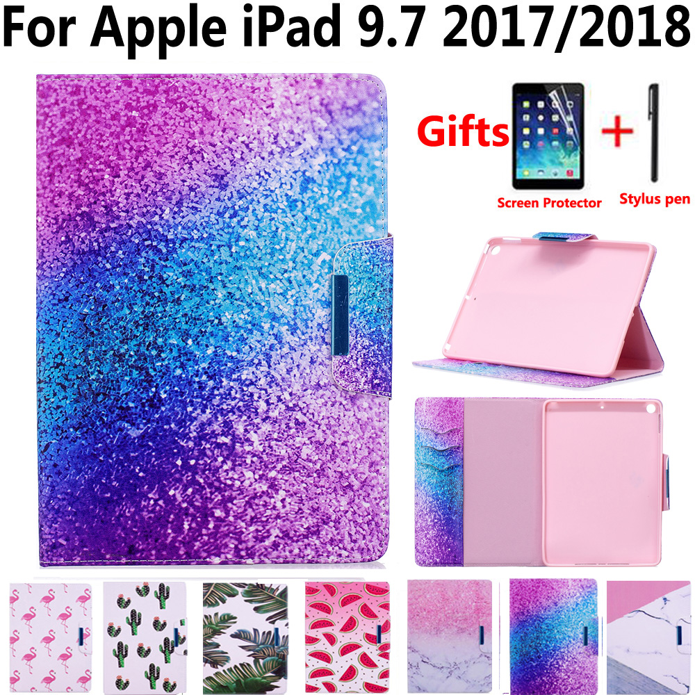 Marble Painted Pu Leather Cover Case for New Apple iPad 9.7 2017/2018 5th/6th Generation A1822 A1893 with Screen Protector Film
