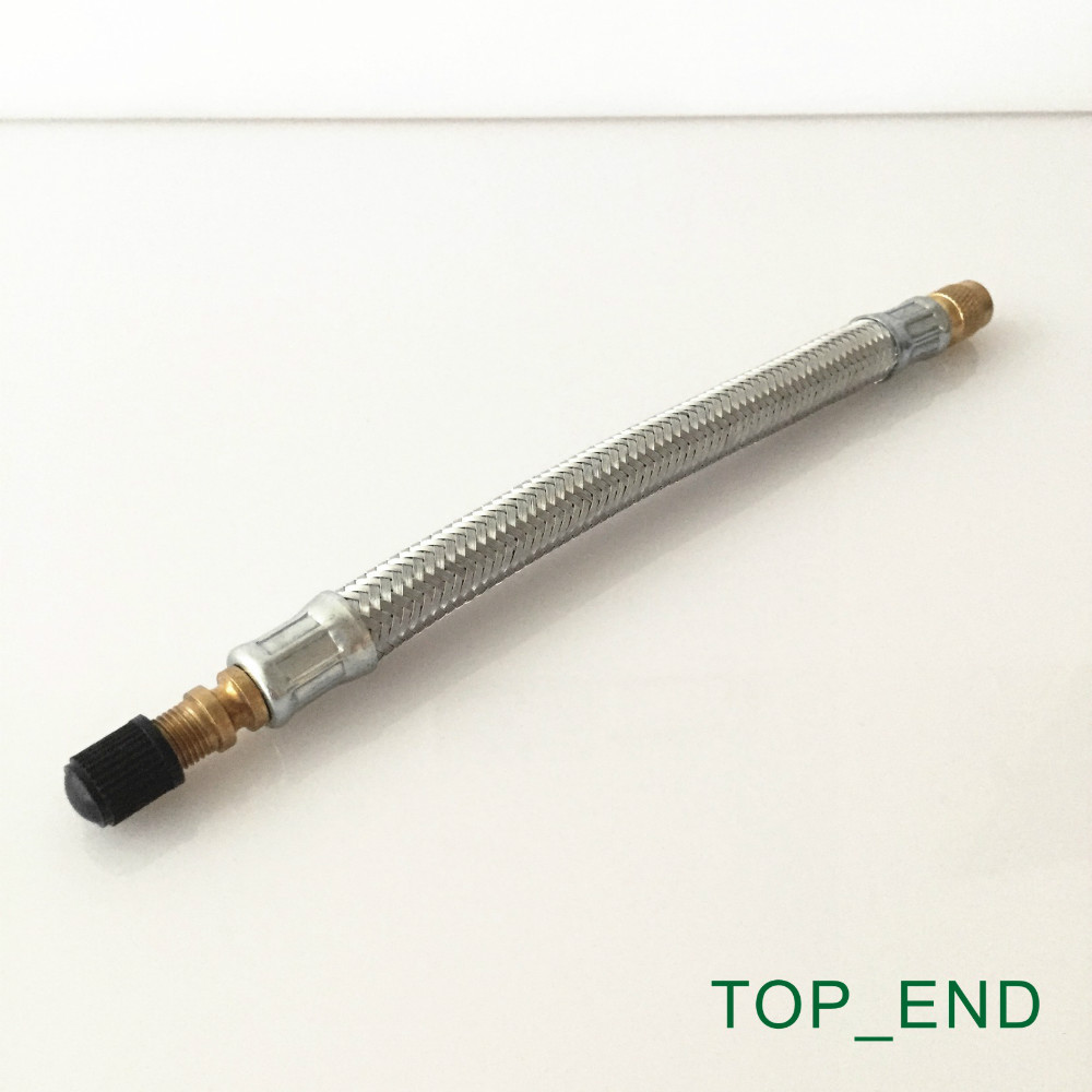 12 Long,Stainless Steel Mesh Wrapped,Flexible Rubber Valve Extension,Work w/ Tire Valve Directly