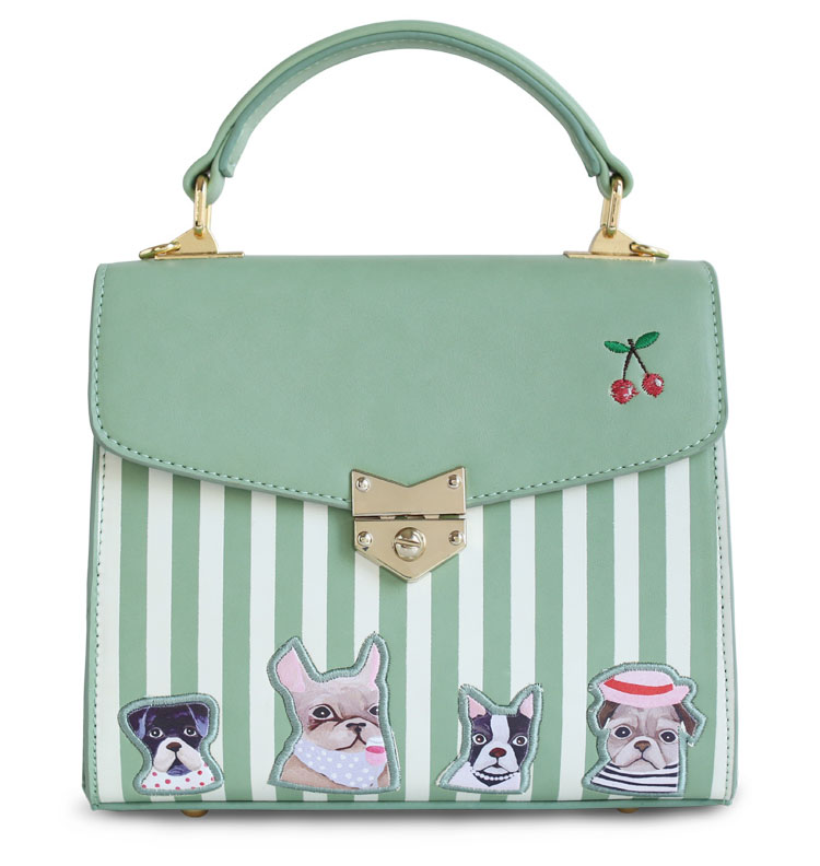 Baby Green Color Embroidery Flap Floral Stripes Dot Dog ... - photo#20