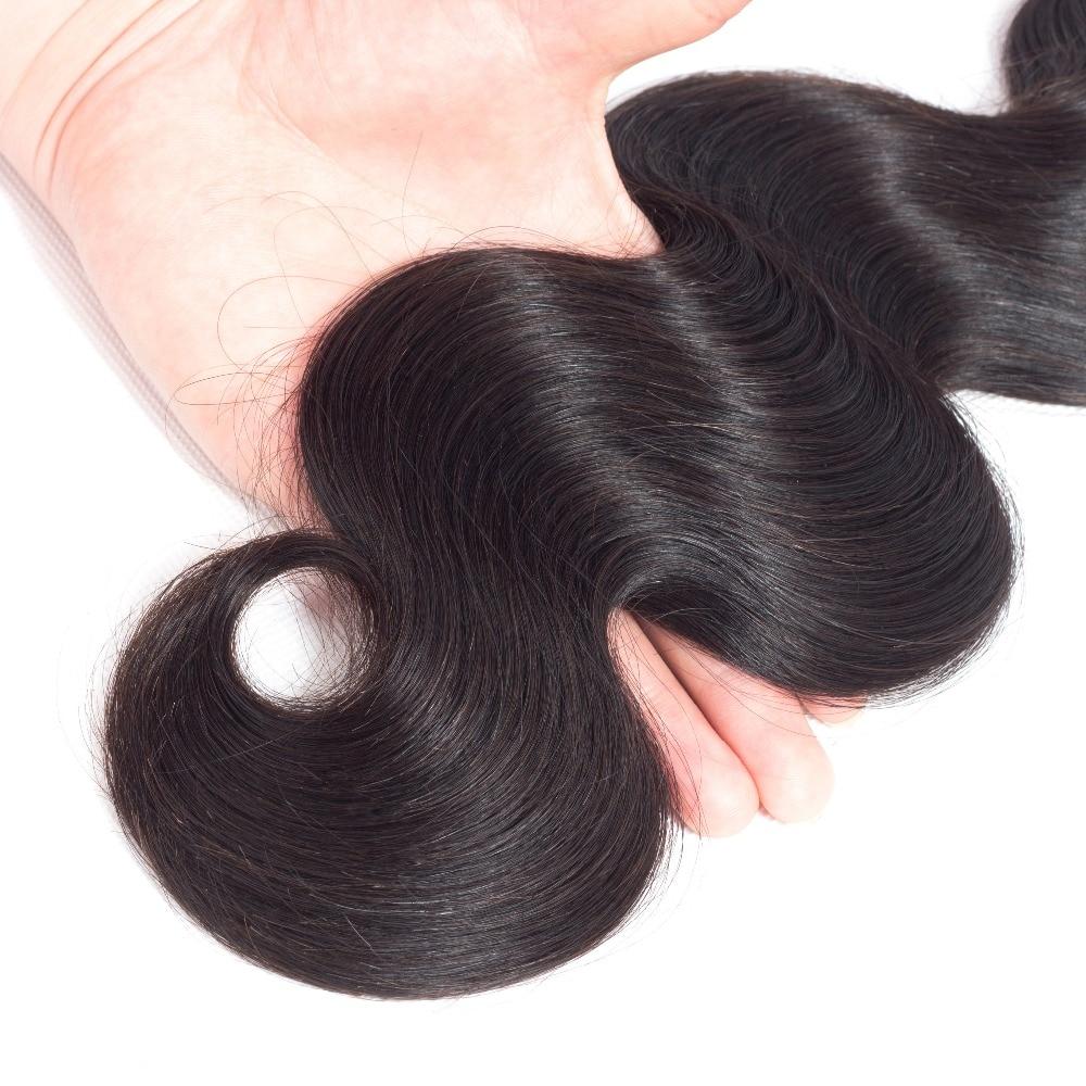 Queen Hair Products Brazīlijas ķermeņa viļņa matu komplekti 100% - Cilvēka mati (melnā krāsā) - Foto 5