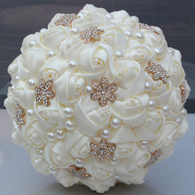 Золотая брошь Крем Кот Цвет искусственные Индивидуальные свадебные Букеты Свадебные diamond pearss шелковые розы Свадебный букет невесты W242