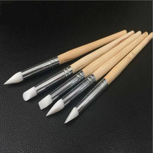 5Pcs Nail Art Sculpture Carving Pen Kit Silicone Head Wooden Handle Painting Brushes for 3D Effect Shaping Drawing Tools