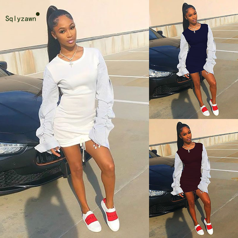 Winter white Sexy Sweatshirt Dress Women Autumn Patchwork Long Puff Sleeve Hoodie Dress Casual Mini T Shirt Dresses Streetwear