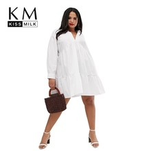 Kissmilk 2019 New Fashion Plus Size V-neck Short  Cotton Blouse Casual Dailywear Long Sleeve Fit Loose Summer T-shirt Dress