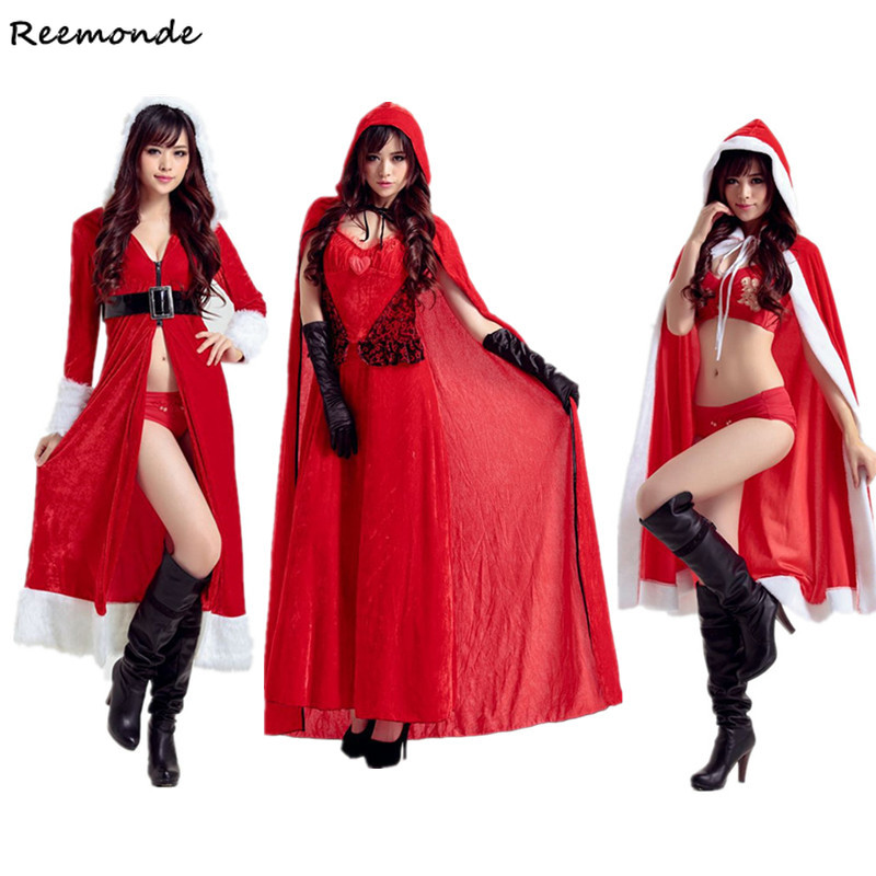 Christmas Santa Claus Cosplay Costumes Velvet Dress Robes Cloaks Belt Set Uniform For Adults Women Girl Halloween Party Clothes
