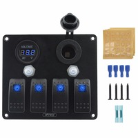 4 in 1 aluminium 4 gang LED rocker switch panel with 20A circuit breaker power socket and voltmeter installation