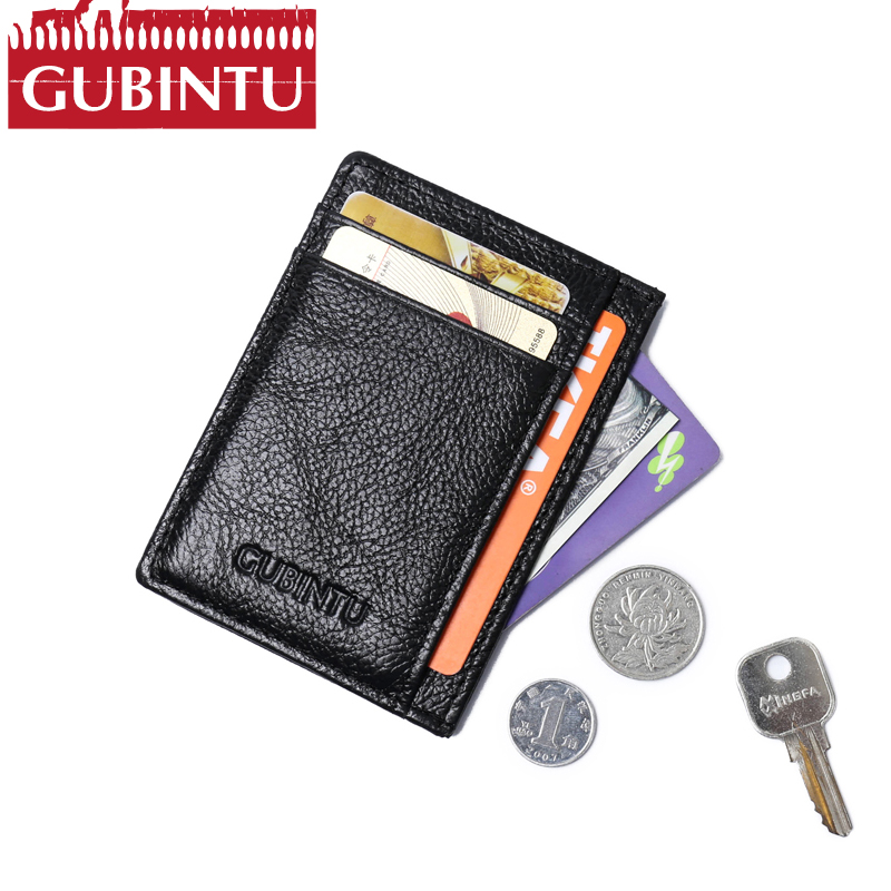 GUBINTU Genuine Leather Wallet Credit Card Holder Mini Wallet Purse Men Leather Purse Wallets Men Carteira Male High Quality contact s thin genuine leather men wallet small casual wallets purse card holder coin mini bag top quality cow leather carteira
