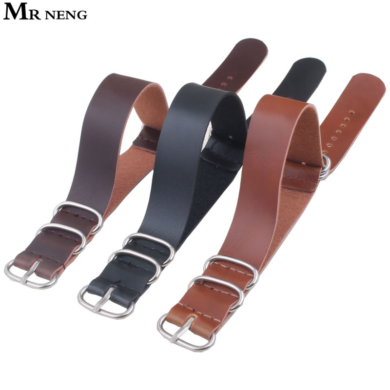 MR NENG For Nato black Brown Ring Buckle 18mm 20mm 22mm Watchbands Men Women Watches Strap Wristwatch Band For zulu PU Leather