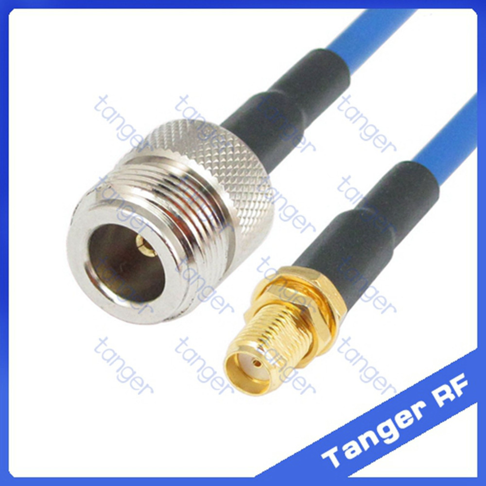 """High quality N to SMA female straight connector with RG402 RG141 RG-402 Coaxial Jumper blue cable 8inch 8"""" 20cm RF Low Loss Coax"""