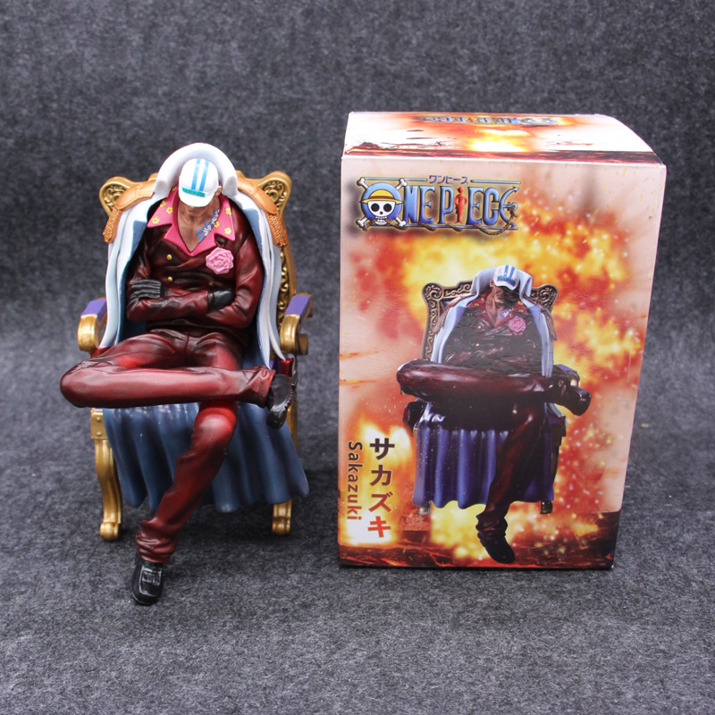 """16cm Anime ONE PIECE Senior General Action Figure Sakazuki Sitting Ver Chair Model Red Clothes Collection 6.3"""" Doll"""