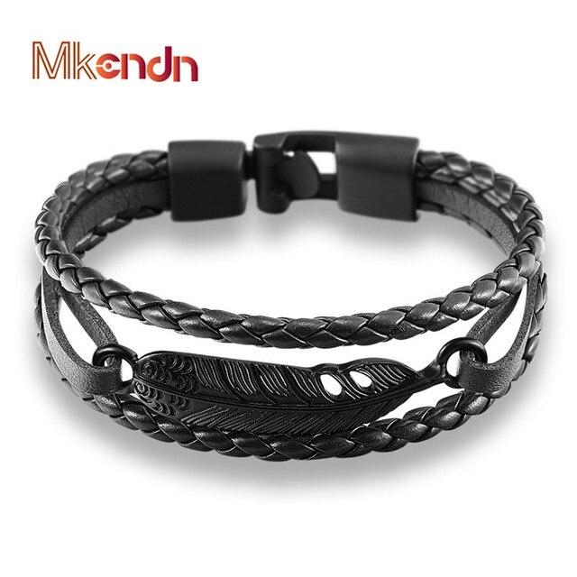 Mkendn moda multicamadas charme couro vintage pena seta pulseira âncora pulseira para homens mulher fácil-gancho jóias pulseras