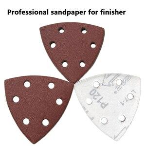 Image 2 - 삼각형 6 구멍 자체 접착 사포 90mm 델타 샌더 모래 종이 후크 및 루프 사포 디스크 연마를위한 연마 도구