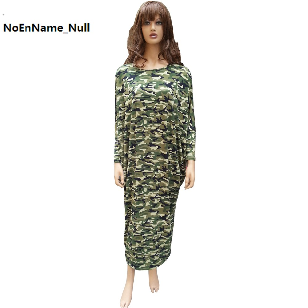 Camouflage Print Dress Women 2017 Spring Autumn Full Loose Long Sleeve Maxi Dresses Robe Femme dashiki Vintage Mujeres Vestidos