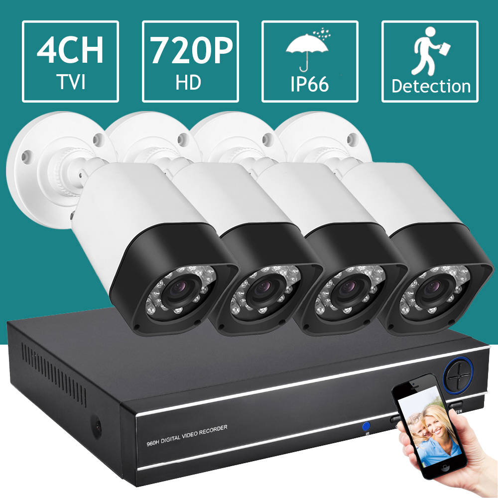 Night Vision IP66 Waterproof Wireless CCTV Camera System 1080 Full Set for Home Security 4 Channel CCTV DVR Kit AHD Camera Set