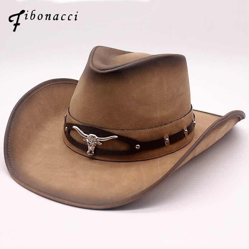 Fibonacci 2018 nova qualidade superior west cowboy chapéu moda falso couro de metal cabeça de touro decoração sombrero ocidental masculino feminino boné|Chapéus de vaqueiro| |  - title=