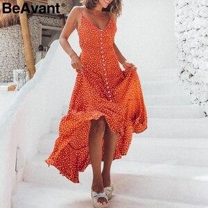 Image 5 - Beavant ボヘミアンセクシーな v ネックドットプリントマキシドレス女性のエレガントなスパゲッティストラップボタンドレスサマービーチロングドレス女性