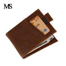 New Genuine Leather Mini wallet Men Zipper Coin Pocket Dollar money clip vintage Real Wallets TW2715