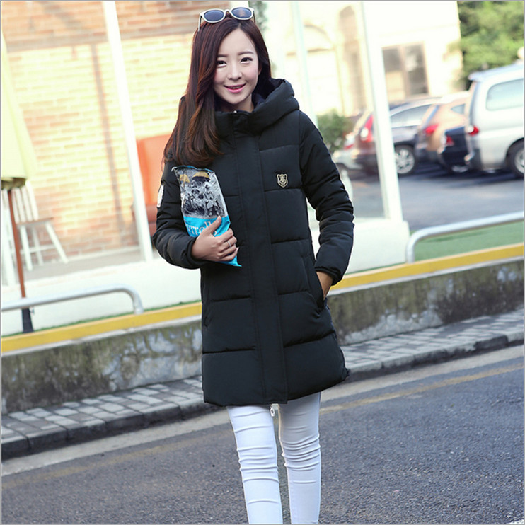 Long section 2017 new winter coat female Korean fashion solid color high necked long sleeved hooded