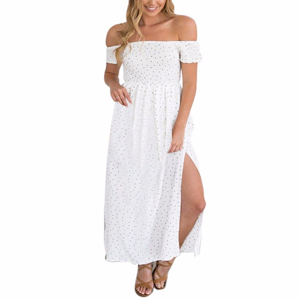 2018 Fashion Dots Cute Slash Neck Short Sleeve Dress White Black Girl Summer Fashion Dressses