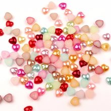 LF 200Pcs Mixed AB Color 10x10mm Haft Heart Pearl Beads Crafts Flatback Cabochon Scrapbooking For Embellishments Diy Accessories(China)