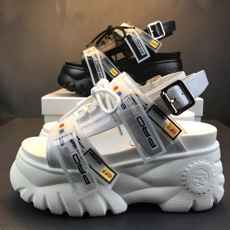 HTB1sC3KOIfpK1RjSZFOq6y6nFXaK 2019 Summer Chunky Sandals Women 8cm Wedge High Heels Shoes Female Buckle Platform Leather Casual Summer Slippers Woman Sandal
