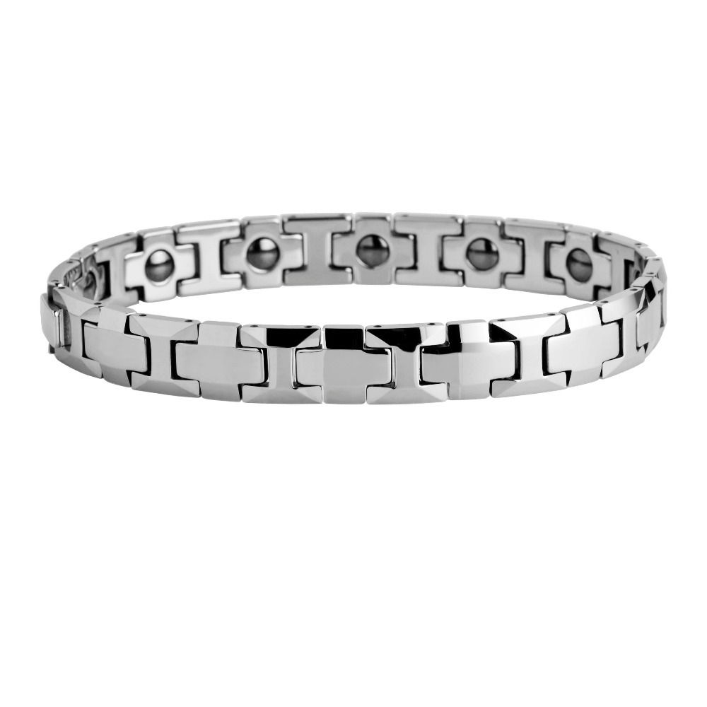 Polished Shiny Tungsten Carbide Beveled with Germanium Magnetic Link Bracelet /TUBR0031L custom engraved names or patterms