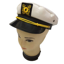 67f1fe671c6 Hot Sailor Ship Yacht Boat Captain Hat Navy Marines Admiral White Gold Cap  High Quality