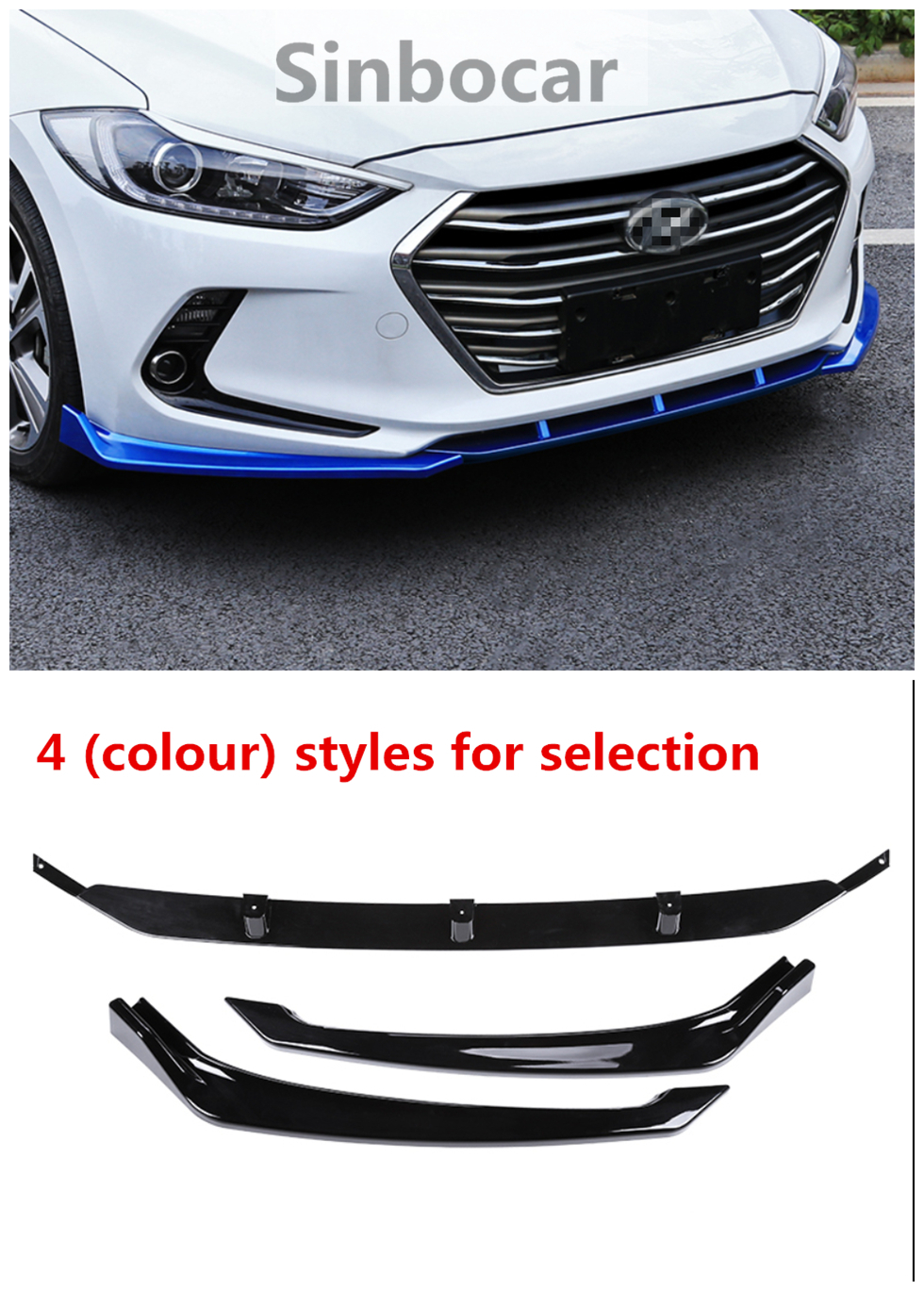 For Hyundai Elantra 2017-2018 ABS BLACK Front Bumper Cover Trim Molding 3PCS