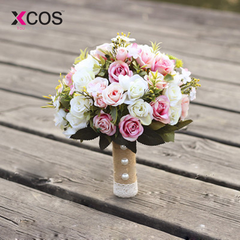 XCOS New Purple White Wedding Bouquet Handmade Artificial Flower Rose buque casamento Bridal Bouquet for Wedding Decoration