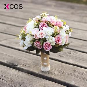 Image 1 - XCOS חדש סגול לבן חתונה זר בעבודת יד מלאכותי פרח רוז buque casamento כלה זר לחתונה קישוט