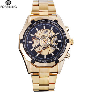 Image 2 - FORSINING Brand Men Automatic Watch Luxury Skeleton Mechanical Watches Mens Gold Stainless Steel Clock Relogios Masculino