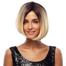 Благородный перрук нет кружева Косплей короткий боб парики 10 дюймов Ombre светлые парики для черных женщин термостойкие