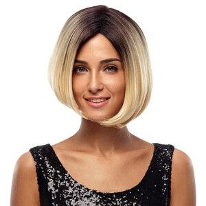 Perruque Bob Blonde de 10 pouces-Noble | Perruque Cosplay style carré court résistant à la chaleur, Perruque sans dentelle avec dégradé de couleur pour femmes de teint noir, livraison gratuite