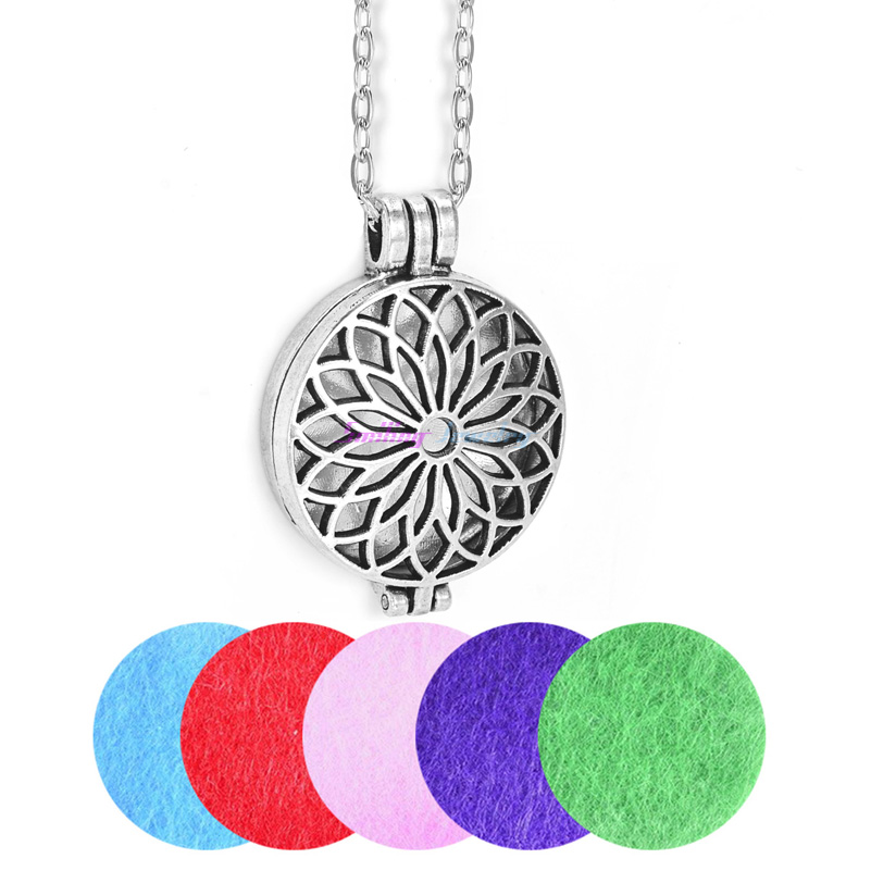 Dropshipping Vintage Aromaterapi Diffuser Halsband Medel Parfym Aroma Hänge Essential Oil Flower Necklace With Chain Pads