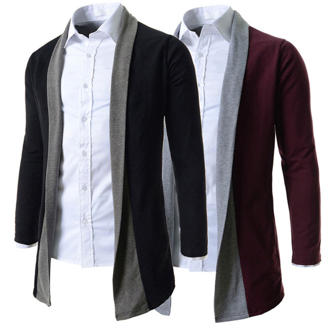 2015 New Brand 2 Color Good Quality Fashion Business & Daily Cardigan Mens Sweaters Slim fit Casual Man Outerwear M-XXL