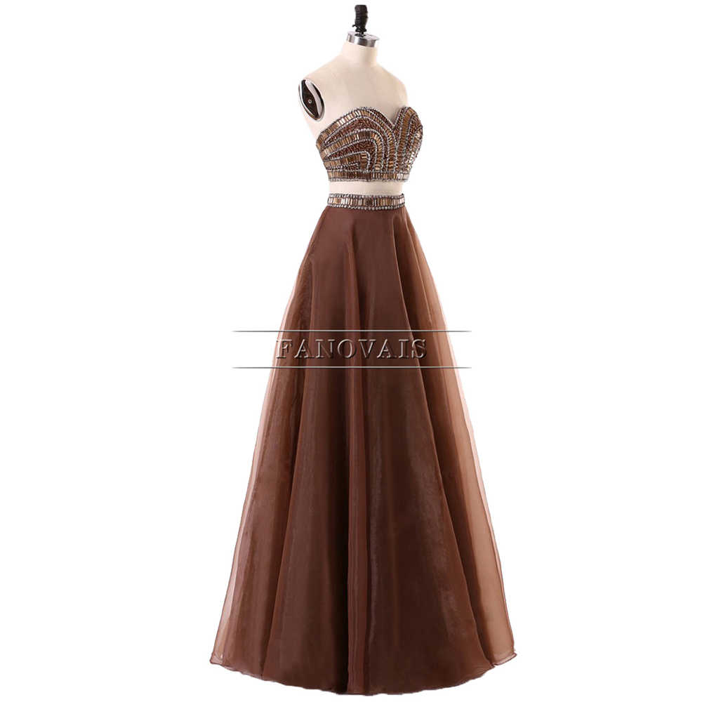 Popular de Duas Peças Vestidos de Noite 2019 A Linha Frisada Top Vestidos Longos de Tule vestido de Baile com o Crystal Vestido de Festa Party Girl PD39