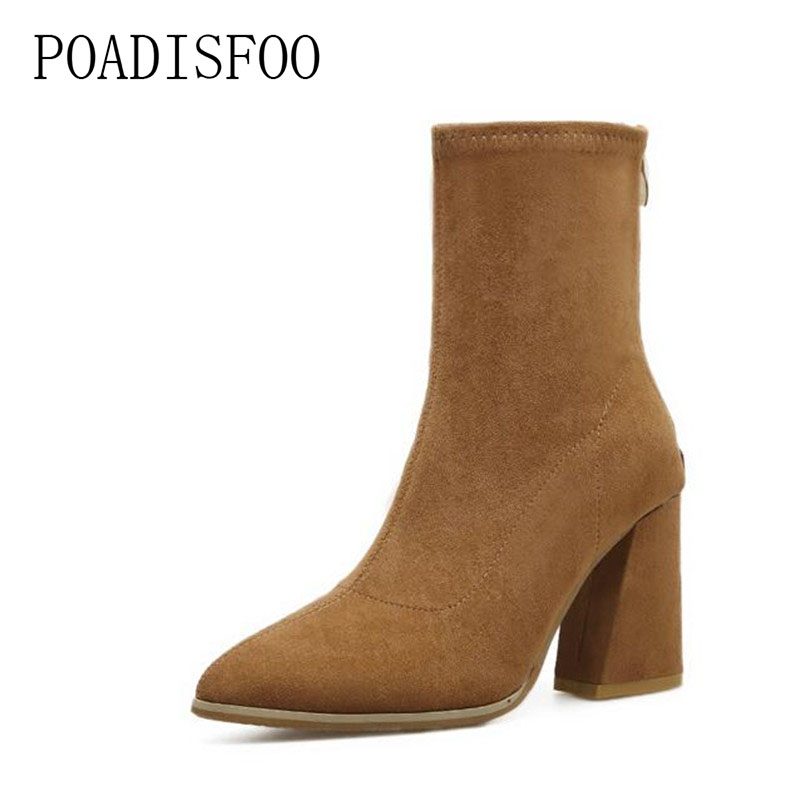 POADISFOO autumn women Boots Solid Pointed Toe rough heels Riding Boot Fashion high heel women shoes winter .CXH-316 cicime women s shoes high thin heel cone heels autumn winter solid female boots