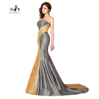 Evening Elegant Dresses Gold Mermaid Royalty Luxury Crystals and Pearls Evening Dress Stain Formal Dresses Prom Gowns 2018