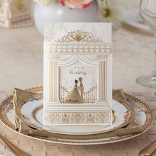 Free shipping, 50sets/lot, Gold foiling frame church style, Fashion Wedding invitation Cards, with inner  card, envelope