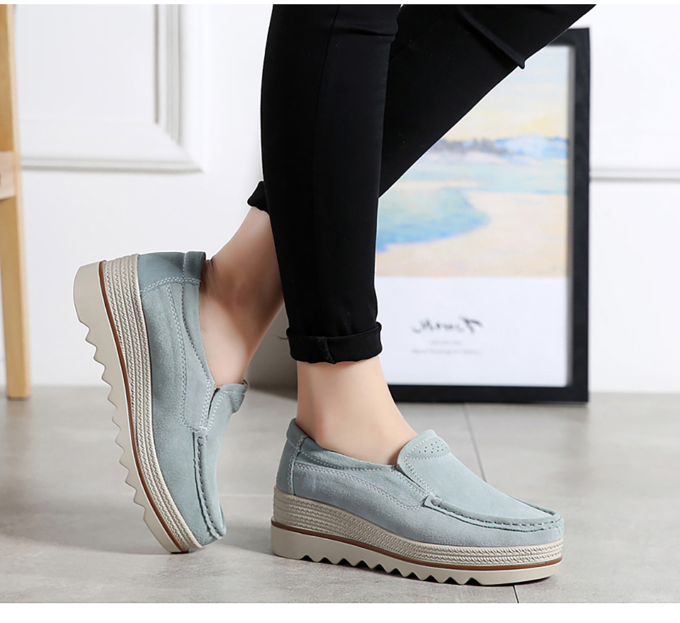 HTB1sC4IOmzqK1RjSZPxq6A4tVXa1 2019 Spring Women Flats Shoes Platform Sneakers Slip On Flats Leather Suede Ladies Loafers Moccasins Casual Shoes Women Creepers