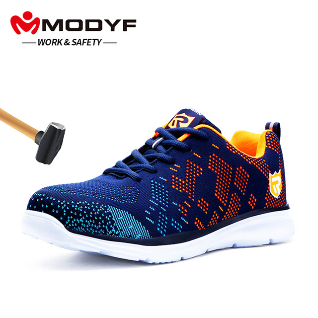 MODYF メンズ鋼つま先の作業安全靴軽量通気性の抗スマッシング抗穿刺反射カジュアルスニーカー
