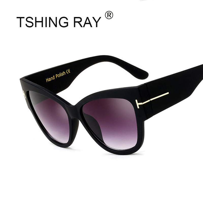 TSHING RAY Tom Fashion Brand Designer Cat Eye Women font b Sunglasses b font Female Gradient