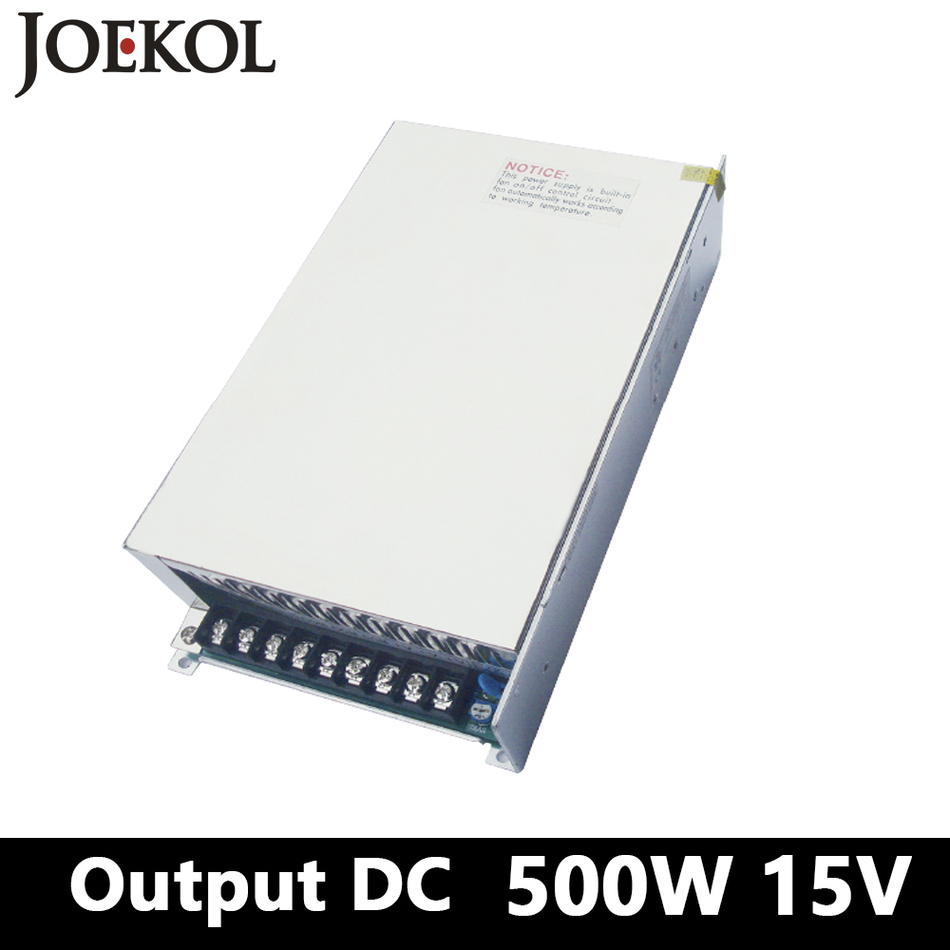Switching Power Supply,500W 15v 33A Single Output watt power supply For Led Strip,AC110V/220V Transformer To DC 15V,led Driver 15v 600w switching power supply 15v 40a single output ajustable 50 60hz ac to dc industrial power supplies s 600 15